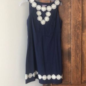 Lily Pulitzer navy and gold dress